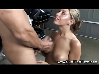 Dirty blond gets her tits fucked by eager guys hard cock