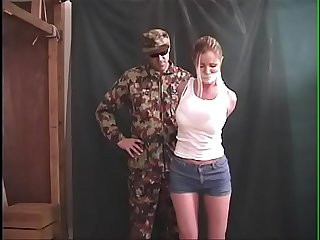Amber Michaels Bound, Gagged, Tormented by Military Villain
