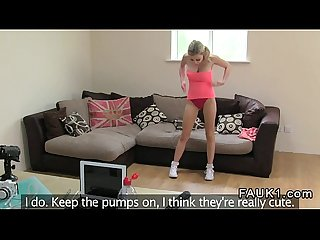 Huge tits british blonde deep throats on casting