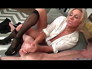 Ov40 stockings and high heels handjob