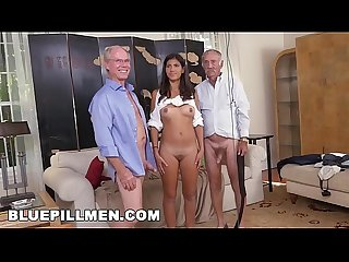 Blue pill men old men go south of the border with latina victoria valencia