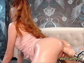 Gorgeous girl tease and fucked with sex machine