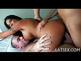 Filling her cunt with a lusty knob