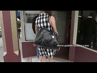Slut at barber shop in public group sex