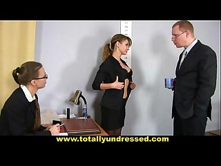 Humiliating totally nude job interview for young lady