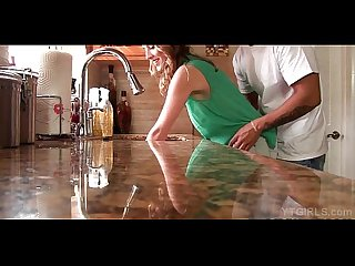 Young housekeeper kitchen table fuck