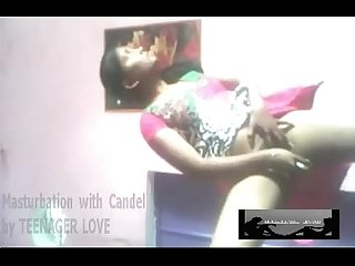 Indian young girl masturbation with candel