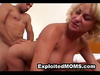 Big tit mature blonde takes a big black cock in amateur interracial video
