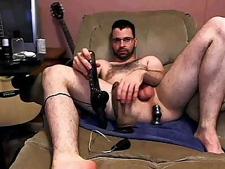 Enjoying a huge dildo