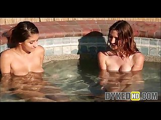 Two teen girls dyke out in a hot tub dykedhd com