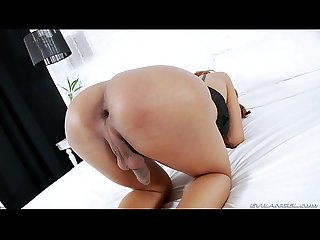 Latina shemale toying her own ass