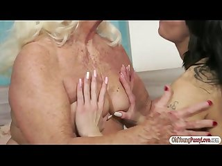 Teen norina enjoys the taste of granny veras wet hairy pussy