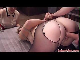Bdsm sub hypnotized before pussy fucking trio