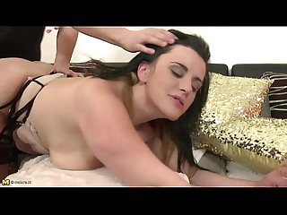 Busty milf rides a young stud on maturenl