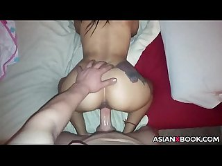 Asian ass with tattoo gets doggystyled