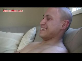 Hot straight masculine mexican latino guy with a big uncut cock strokes off and