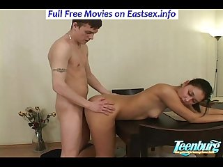 Busty brunette Teen pounded in her asshole