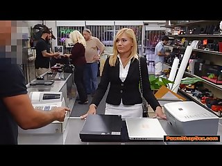 Hot blonde milf gets paid by pawnshop owner for bj and fuck