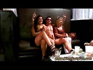 Cfnm amateur party girl sucks stripper cock