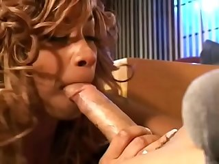 Hot ebony brunette seduces white hunk to fuck her in her office