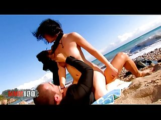 Bigtit brunette fucked hard at the beach by handsome guy with big cock