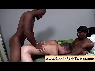 Black cock fucks twink