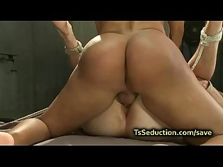 Busty tranny in pantyhose fucks guy