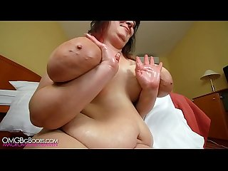 busty bbw oils her massive boobs 1080p