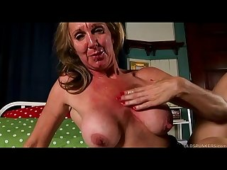 Shapely old spunker in sexy stockings loves to fuck facial cumshots