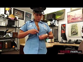 Busty latina cop sells her weapon ends up fucked in shawns office