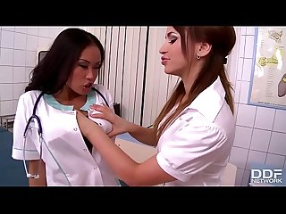 Exotic Asian Nurse gets turned out lesbian style by Aleska Diamond