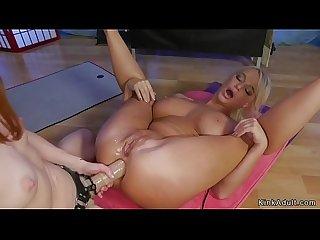 Yoga lesbians anal fucking in bondage