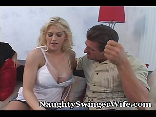 Hubby encourages big titty wife