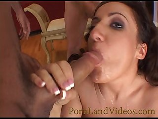 horny bitch sucking four cocks cumshot in mouth