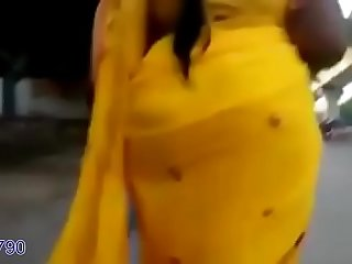 Rekha aunty's big ass caught in yellow saree