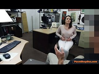 Milf wife sucks and fucks pawnshop owners big cock