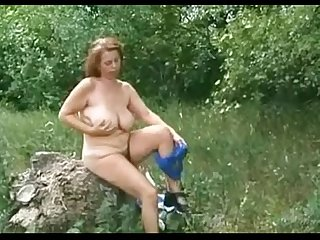 Granny bbw ildiko playing outside