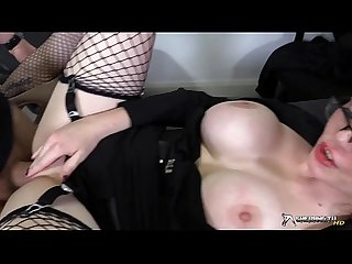 Horny busty secretary sucking her boss cock