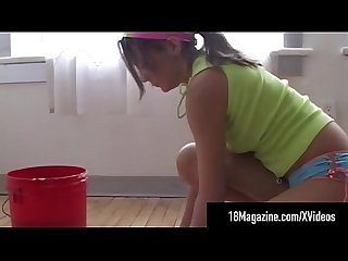 Adorable teen andi pink cleans the floor nude