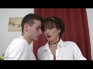 Brunette mom fucked hard by a young guy