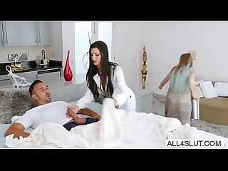 Big tits Melissa Lynn spreads her legs inviting Keiran Lee to eat and fucked her