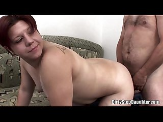 Naughty stepdaughter crawling over stepdad s bed