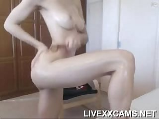 Beautiful brunette with big tits fingering herself on 666webcam net