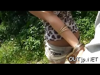 Asian hottie gets juicy from being manhandled outdoors