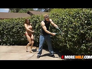 Garden hoe ariella ferrera plowed outside for cumshot