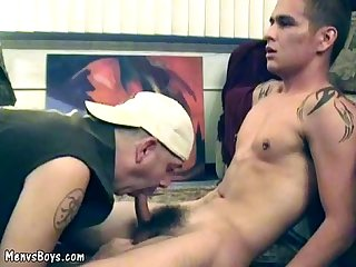 Young hunk lets nasty gay papa savor his hard meat