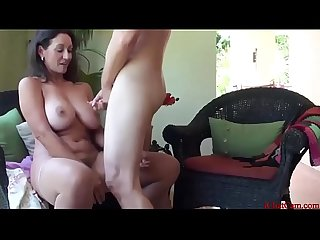 Beautiful stepmom teaching Sex to her son and gives him a Handjob