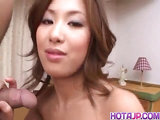 Saku momona creamed on face after a wild fuck