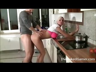Sexy blonde fucks bf in kitchen thenakedgamer period com
