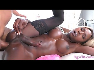 Busty black shemale fucked in her asshole hard and deep
